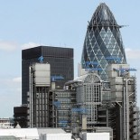 Lloyd's Building, with the gherkin-shaped Swiss Re tower in the background (picture Adrian Pingstone)