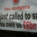 Tax protests outside a Vodafone store (picture Oxford Save Our Services)