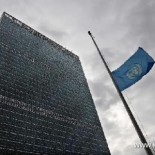 The UN flag at half-mast