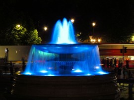 Trafalgar Square fountains illuminated in blue for the birth of Prince George (picture David Holt / Flickr)