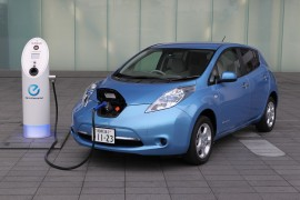 Charging up a Nissan Leaf electric car