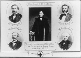 Contemporary illustration showing the five founding members of the International Committee of the Red Cross, around 1863
